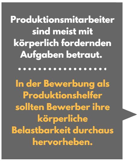 Bewerbung als Produktionshelfer Tipps