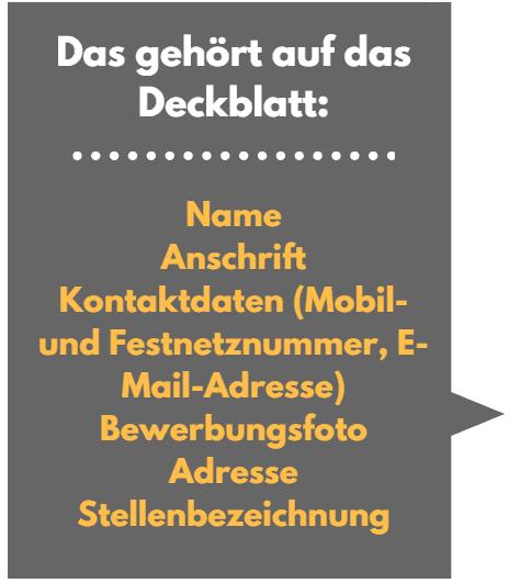 Deckblatt Bewerbung, Bewerbungsdeckblatt Layout