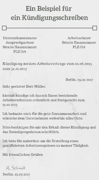 Kündigung Handschriftlich