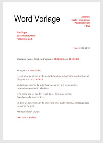 kndigungsschreiben in word vorlage hier downloaden - Muster Kundigungsschreiben