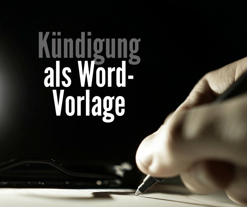Kündigungsschreiben Als Word Und Pages Vorlage Zum Download